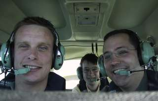 Stu, myself and Andy in flight