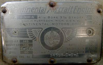 The engine plate on G-BSEP's engine