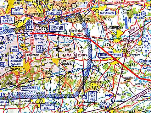 Picture taken from an aviation chart, showing the controlled airspace around Redhill aerodrome.